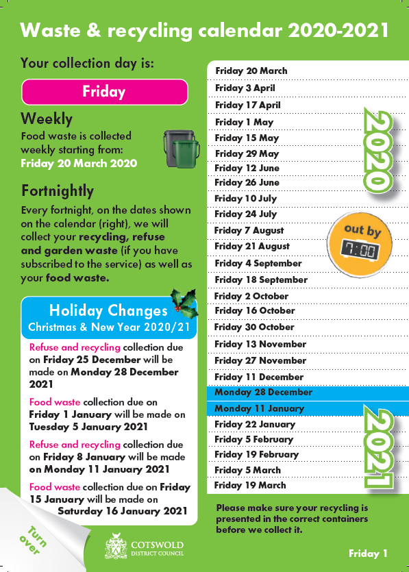 Waste & recycling calendar 2020-2021 - Route Friday B