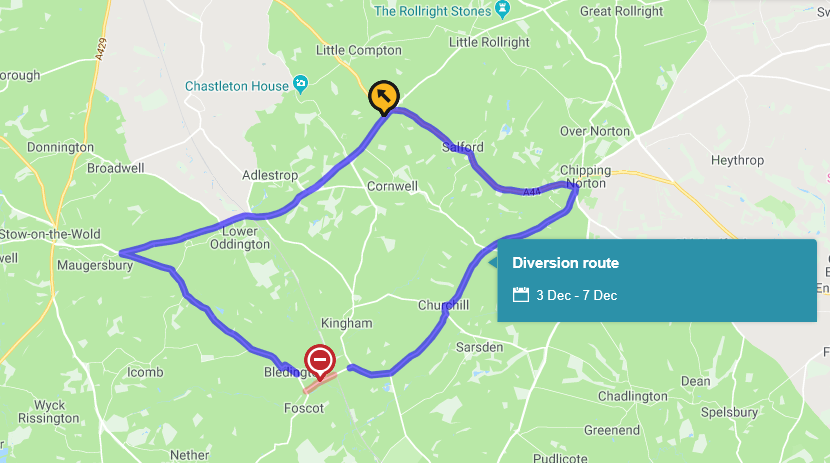 Road Closure & Diversion, Chipping Bridge