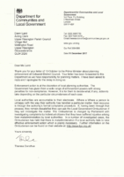Correspondance – Planning Concerns, Response from DCLG