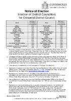 Notice of Election – District Council Elections – 2 May 2019