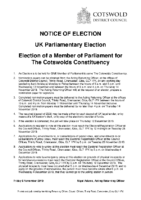 Notice of Election – The Cotswolds Parliamentary Constituency