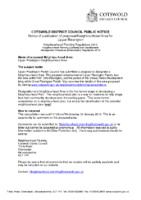 Notice of Publication of Proposed Neighbourhood Area for Upper Rissington