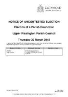 Notice of Uncontested Election 29 March 2018 – Upper Rissington Parish Council