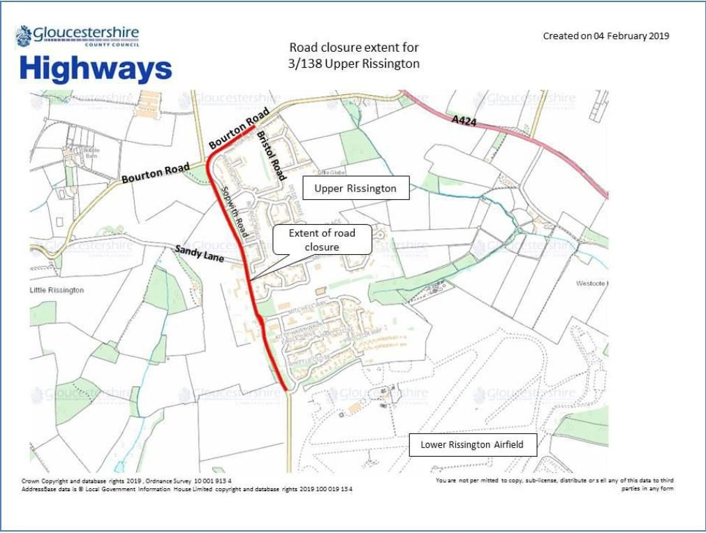 Road closure extent for 3/138 Upper Rissington